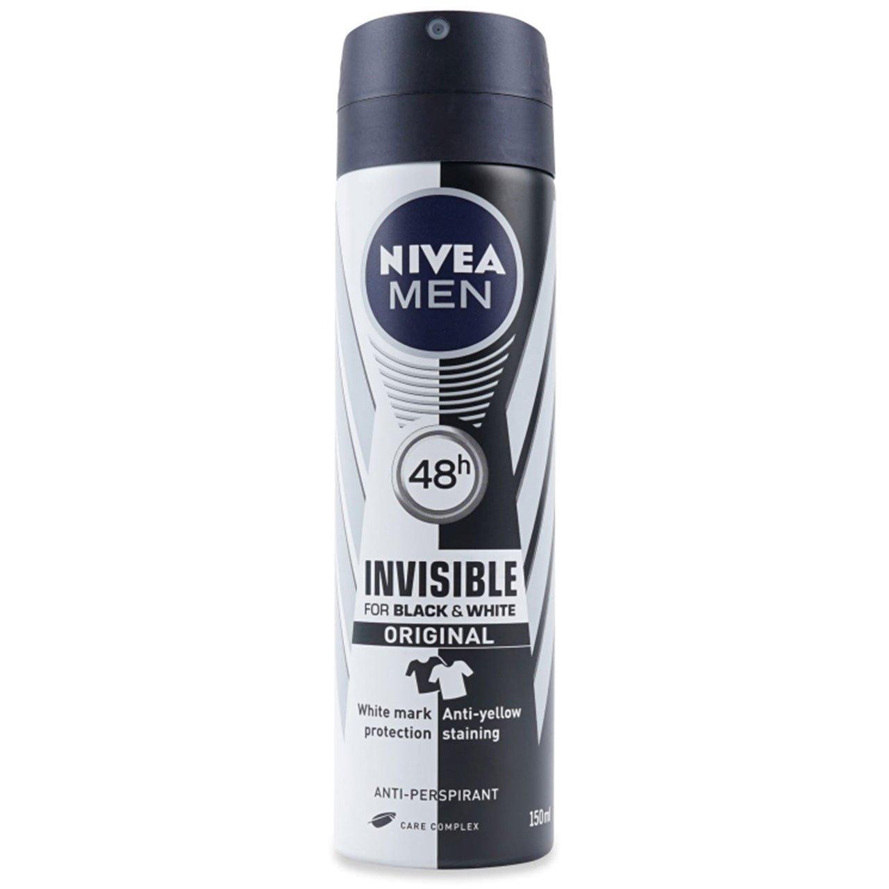 اسپری مردانه نیوآ مدل Invisible Black and White Original حجم 150 میلی لیتر
