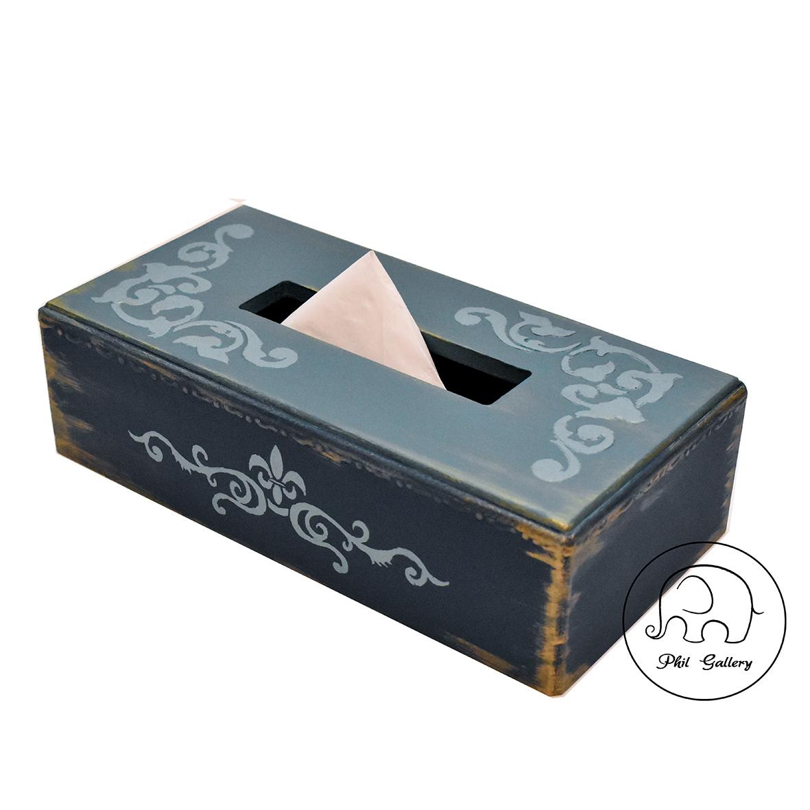 جعبه دستمال کاغذی چوبی با نقوش برجسته و کهنه کاری طلایی