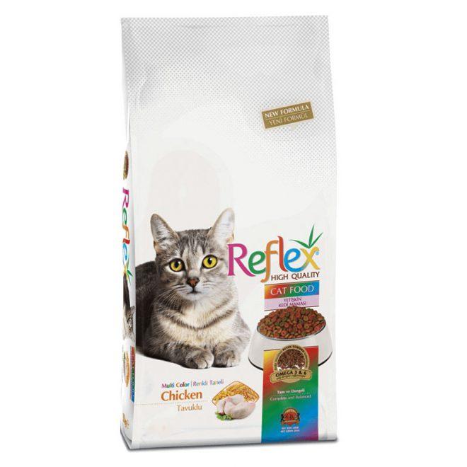 غذای گربه بالغ رفلکس مدل مولتی کالر مرغ وزن 15 کیلوگرم